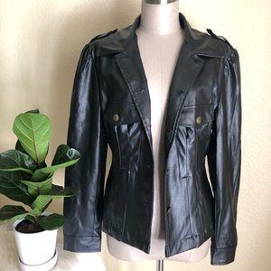 Jennifer.j faux leather blazer jacket